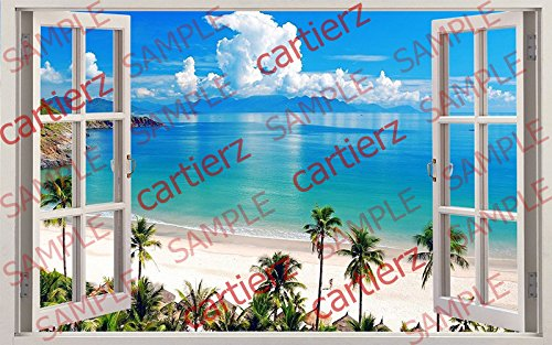 Create an Amazing Window View Anywhere . Very High Quality. Looks Incredible 24 X 18 (Beach view) (Chicago Window Poster compare prices)