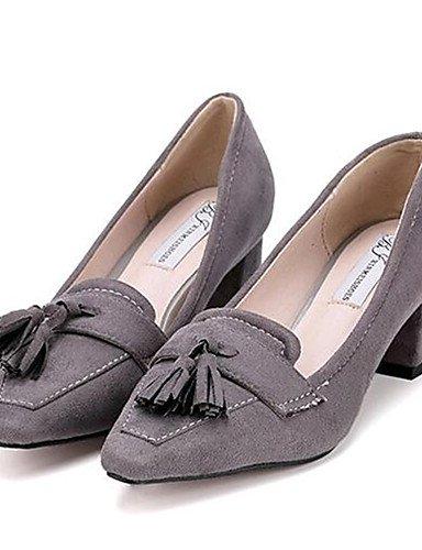 GGX/ Damenschuhe-High Heels-Outddor / Lässig-Vlies-Blockabsatz-Absätze-Schwarz / Grau black-us6 / eu36 / uk4 / cn36