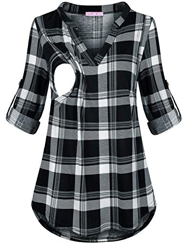 JOYMOM Nursing Tunics to Wear with Leggings,Maternity Plus Size Roll Tab Sleeve V Collar Feeding T-Shirt Blouses Womens Aline Flowy Lightweight Breastfeeding Tops Black White Plaid 2XL