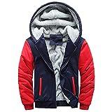 Ankola Men's Winter Patchwork Thicken Fleece Lined Zipper Hoodie Sweatshirt Jacket Coat Outerwear (XXXXL, Red)