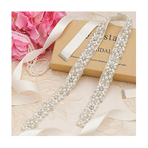 Yanstar Silver Pearl Rhinestone Wedding Bridal Belt Sash with Ivory Ribbon for Prom Dress