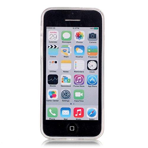 iPhone 5C Etui Coque TPU, E-Lush Anti-rayures Mince Coque pour Apple iPhone 5C Flexible Souple Silicone Coque Couverture Legere Transparente Housse de Protection Absorption des Chocs Case Cover avec M