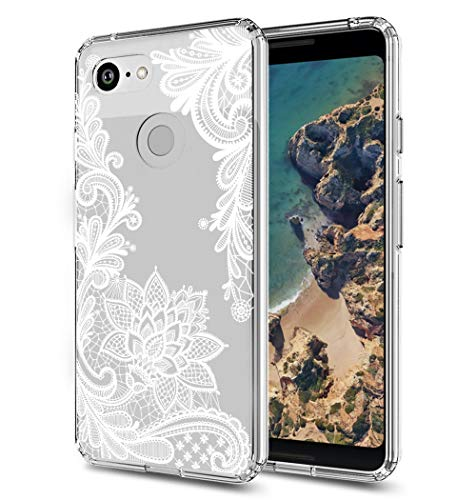 Google Pixel 3 Case, Pixel 3 Case, Huness TPU Grip Bumper and Clear Flower Transparent Hard PC Backplate Hybrid Slim Phone Case Cover for Google Pixel 3, Pixel 3 Phone (2018) (Clear Flower)