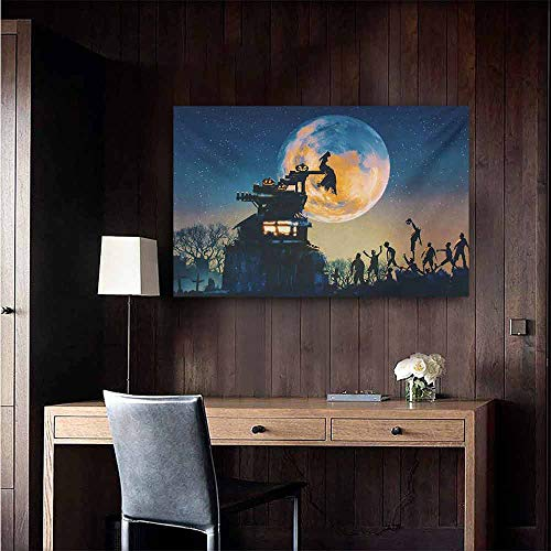 duommhome Fantasy World Living Room Decorative Painting Dead Queen in Castle Zombies in Cemetery Love Affair Bridal Halloween Theme Modern Minimalist Atmosphere 20