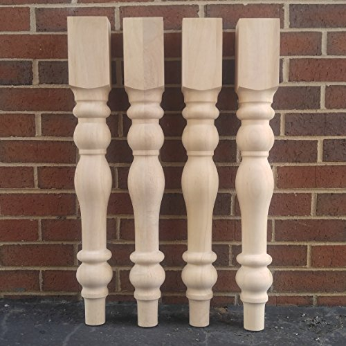 Leg Pine Table (Unfinished Cottage Farmhouse Dining Table Legs- Set of 4 Turned Legs- Design 59 inc)