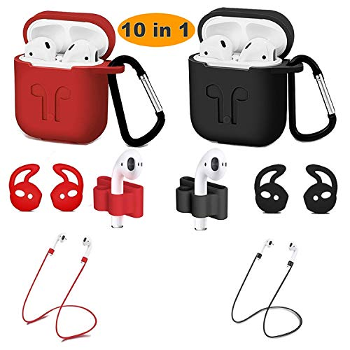 10-in-1 Airpods Protected Silicone Case, Airpods Accessory Kit, Airpods case and Apple Airpods Skin with Anti-Lost Airbag Belt, Airpods Watch with Stand, Airpods Ear Hook(Black + red)