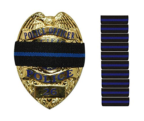 Bands of Mourning - Mourning Bands for Badges - Police - 10 Pack Blue Line - Mourning Band Blue Shows Unity for a Fallen Officer - Blue Lives Matter
