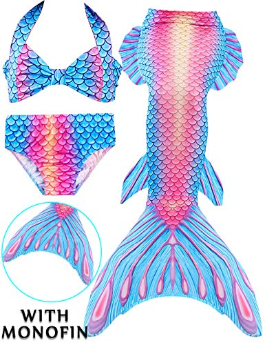 Girls 4 Pcs Swimsuits Mermaid Tails for Swimming Costume Support Monofin Princess Bikini Set Dress Up Party (3T-4T/Ht42-44in/Tag 110, F Newest -