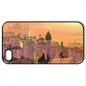 castle - Case Cover for iPhone 4 and 4s (Skyscrapers Series, Watercolor style, Black)