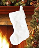 EDLDECCO 20.5 inch Snowy White Cozy Faux Fur Christmas Stocking for Holiday party decorations gift-One Piece