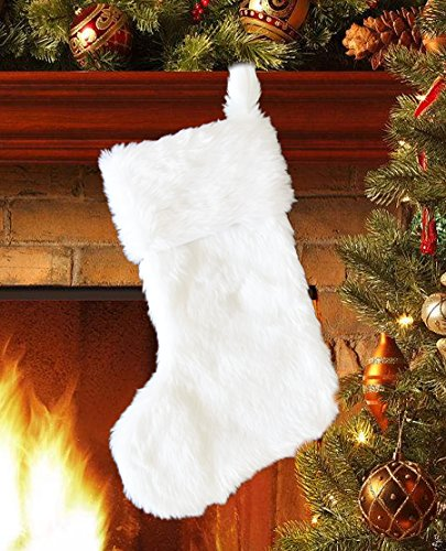 EDLDECCO 20.5 inch Snowy White Cozy Faux Fur Christmas Stocking for Holiday party decorations gift-One Piece ()
