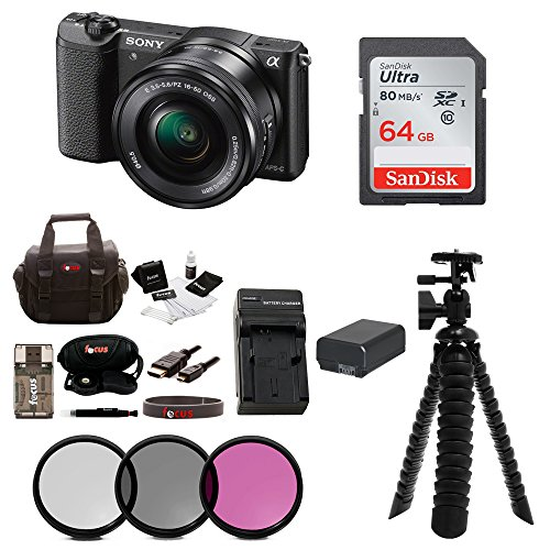 Sony Alpha a5100 Mirrorless Digital Camera w/ 16-50mm Lens & 64GB SD Card Bundle