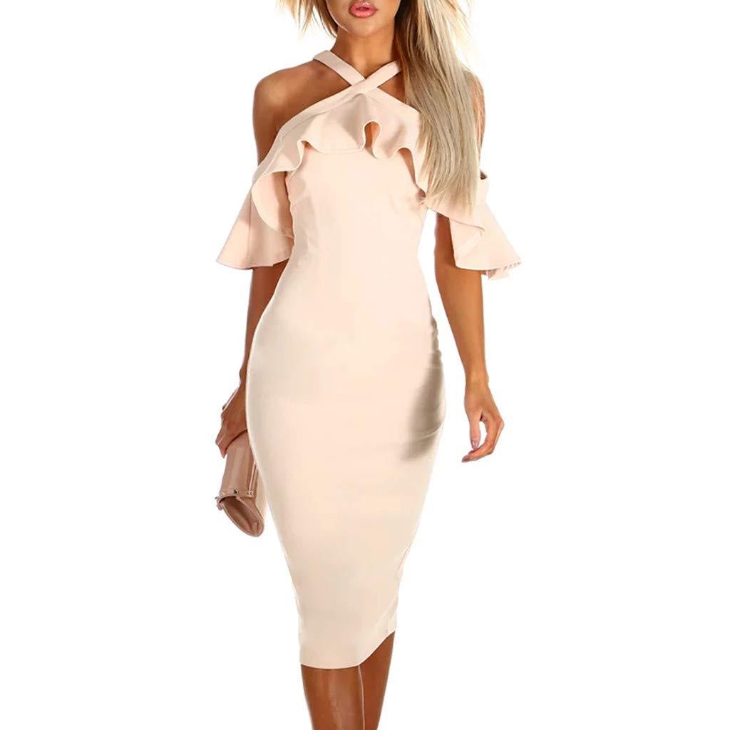 PASATO Women Ruffles Cross Off Shoulder Dress Evening Party Dress Sundress Warm Party Night Out Pencil Midi Dress(Beige,S=US:XS)