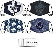 KIKIMEN 4Pcs TOR Toronto- Maple- Leafs Logo Reusable Nose Face Mask Mouth Cover Headscarf Outdoor Seamless Reu