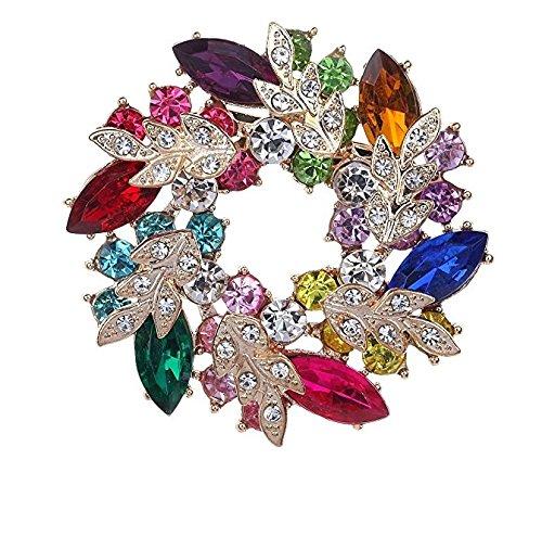 Jesica Colorful Rhinestone Flower Wreath Brooch Pin for Women