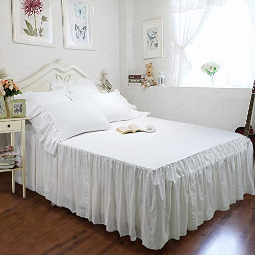 TEALP Farmhouse Bedding Set White Bed Skirt Cotton Fitted Sheet Bedspread and 2 Shams, Queen Size Shabby Style Bedding (With Bedspread Skirt)