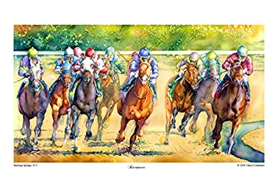 "Saratoga Springs, Horse Racing, Equine Art, Adirondack, Horses, Watercolor, Giclee Print, 14"" x 20, by Cheryl Chalmers"