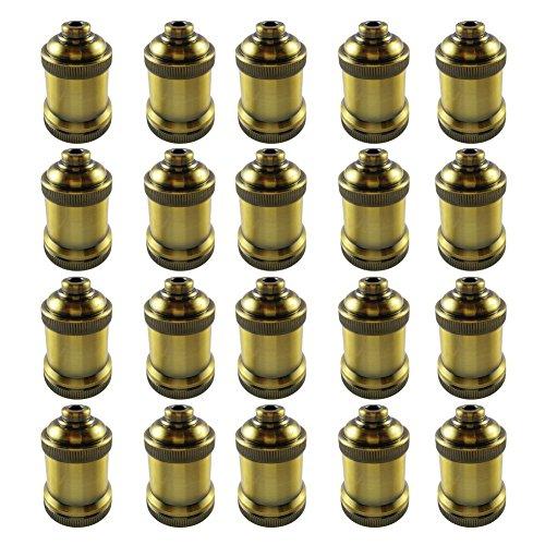 AAF Antique Light Socket Brass, Keyless, Medium Base, Pack of 20 by AAF