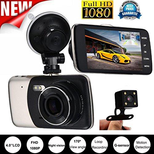 "Price comparison product image Gotd 4"" 1080P Dual Lens Car Camera DVR Video Recorder Rear Dash Cam G-sensor"