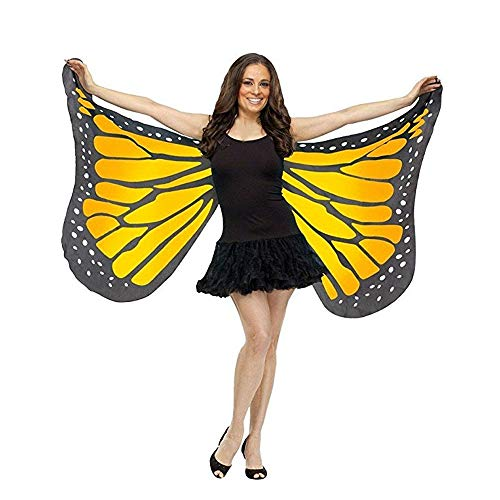 FarJing Women Shawl Scarf Soft Fabric Butterfly Wings Fairy Ladies Nymph Pixie Costume Accessory(Orange)