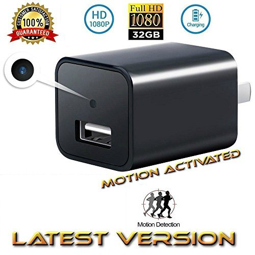 Adapter Dvr (USB Phone Charger Camera -FULL HD 1080P Hidden Video Camera Charger Mini DVR Nanny Camera Video Recorder DVR Wall Adapter Charger Cam+32GB)