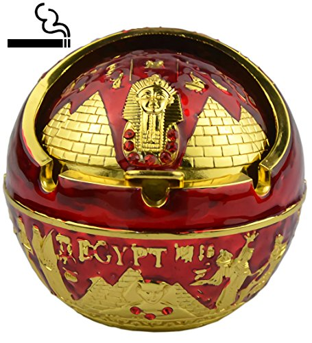 Exquisite Exotic Ball Ashtray Ancient Egypet Egyptian Style Pyramid of Pharaoh Pattern Spherical Pattern Windproof Ashtray Home Office Decoration Perfect Father's Day Dad Gift Business Gift (A2 Red) Ball Ashtray