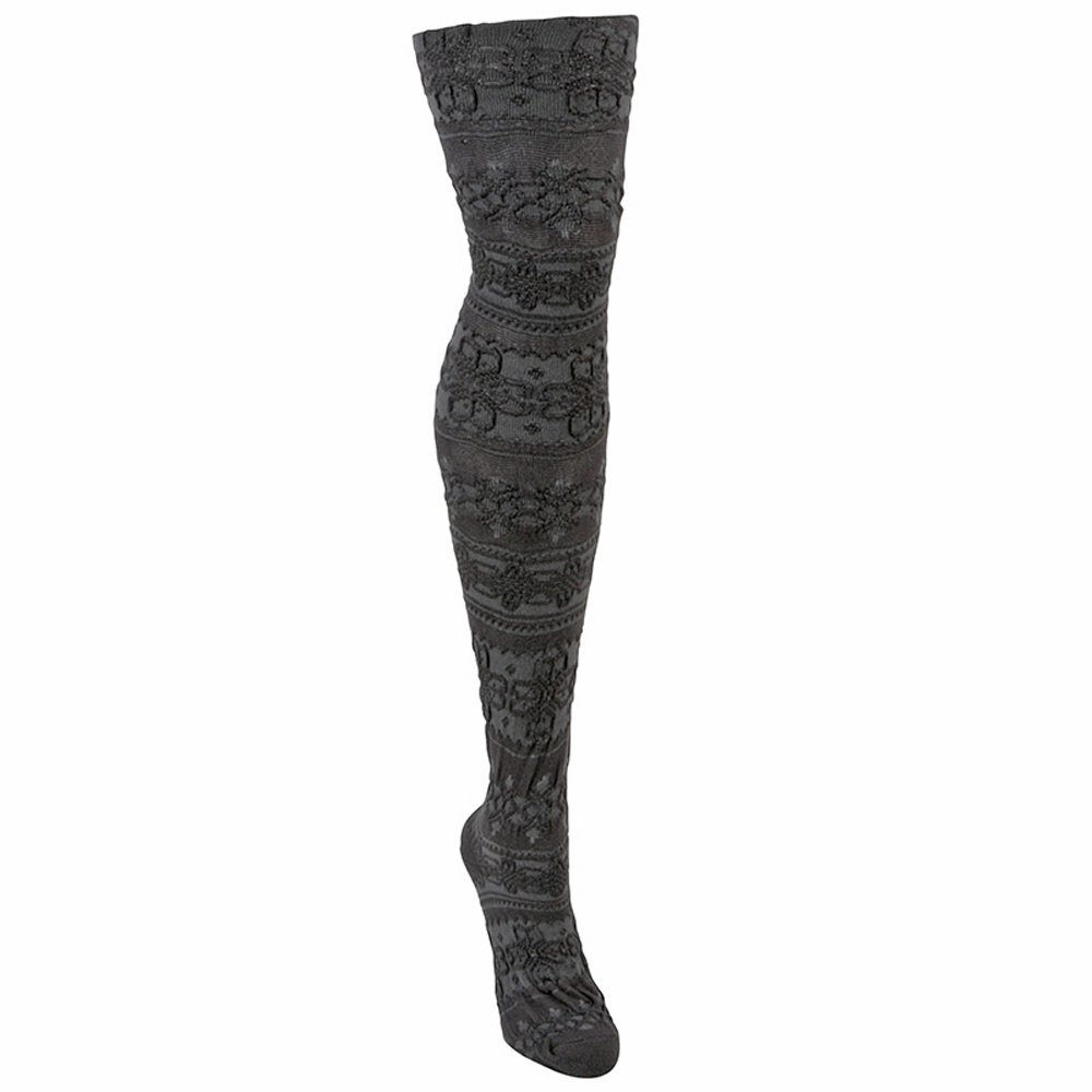 d1a4de4e5f14c MUK LUKS Patterned Microfiber Tights - Blue Steel/Ash S at Amazon Women's  Clothing store: