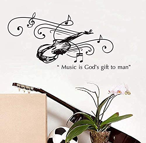 dferh Wall Sticker Music is A Gift from God for Man Guitar Wall Stickers for Kids Living Room Home Decoration PVC Decal Mural Art DIY Office Wall90X43Cm