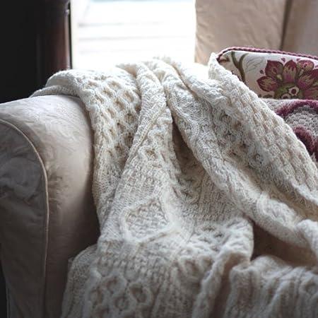 The Wool Company Chunky Aran Knit Throw Amazoncouk Kitchen Home Interesting Aran Throw Blanket