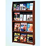 DMD Magazine Rack, Wall Mount 24 Pocket Literature Display, Holds 12 Larger Books or Magazines and 24 Brochures, Mahogany Wood Finish