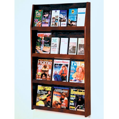 DMD Magazine Rack, Wall Mount 24 Pocket Literature Display, Holds 12 Larger Books or Magazines and 24 Brochures, Mahogany Wood Finish Pocket Mobile Literature Display