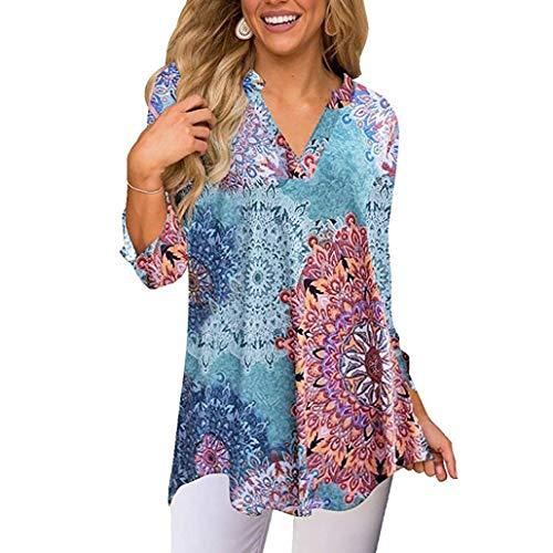 Sunhusing Ladies Autumn Flower Print Long Sleeve Irregular Top V-Neck T-Shirt Shirt (Bridal Hang Tags)