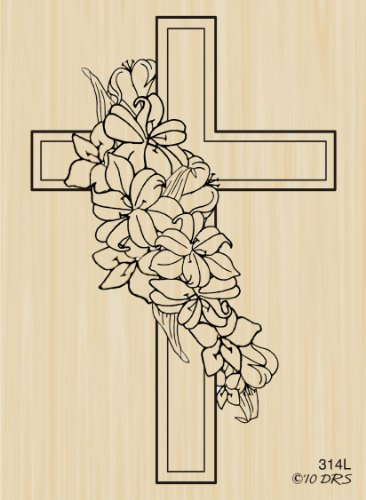 Lily Sympathy Cross Rubber Stamp By DRS Designs