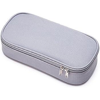 Pencil Case, Large Capacity Pencil Bag, Two Way Zipper Pencil Box - Gray
