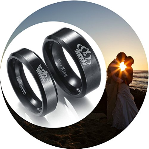 Christmas Gifts for Women Men Couples Promise Eternity Rings King Queen Titanium Steel Valentine's Day Birthday Present for Teens Girls Boys (Black - His Queen, 8)