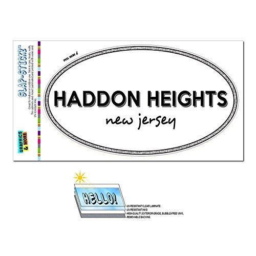 Graphics and More Euro Oval Window Bumper Laminated Sticker New Jersey NJ City State Gre - Man - Haddon Heights