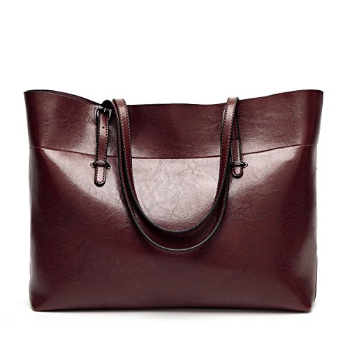 Wine Tote Daily Work Shoulder Leather Flada Capacity Large Coffee Handbags Red Bags Bag PU for Women's x778qPO