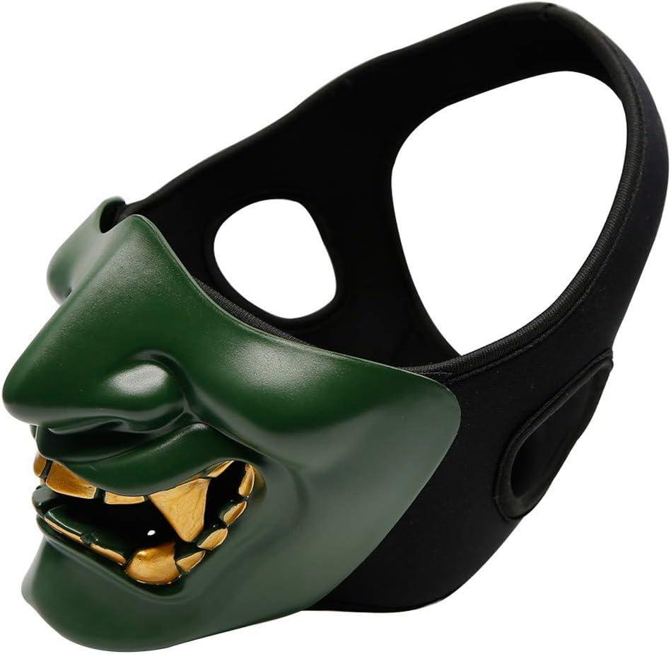 Mezza Maschera da Diavolo Maschera da Diavolo di Samurai Unisex Mezza Faccia di Halloween Maschera Tattica Cosplay Kabuki per la Festa di Halloween