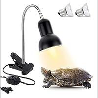 Reptile Heat Lamp, Turtle Tank Aquarium UVA UVB Light with Bracket and Adjustable Temperature Switch, Heating Light Lamp…