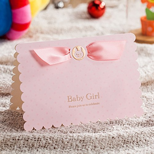 WISHMADE 50X 3D Pink Baby Shower Invitation Card with Bear and Cartoon Car Design, Blank Printable Birthday Dinner Party Invites Kits for Little Girl with Envelopes CW5301