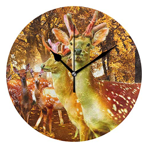 Ladninag Wall Clock Deer Autumn Animals Trees Silent Non Ticking Decorative Round Digital Clocks for Home/Office/School Clock -