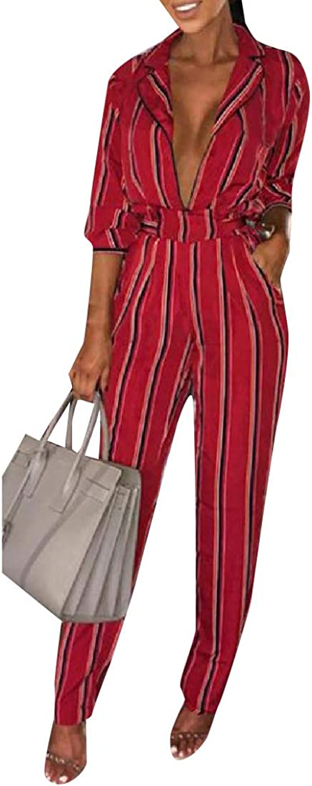 Comaba Women Deep Plunge Vertical Stripes Jumpsuit Romper with Belt