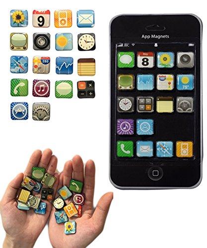 Kühlschrankmagnete: 18-teiliges Magnete Set im App Design für Whiteboard, Kühlschrankmagnet, Magnettafel, Magnetwand, stärkere Haftung als Vergleichsprodukte
