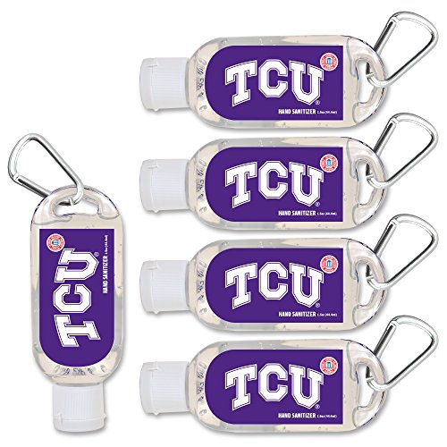 NCAA Texas Christian Horned Frogs Hand Sanitizer with Clip, 5-Pack. Moisturizers Aloe Vera and Vitamin E. (1.5 oz Containers) NCAA Gifts for Men and Women, Christmas Stocking Stuffers