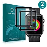 Apple Watch 38mm Screen Protector Series1,Series 2,Series 3 (2Pack), Dalinch iWatch 2,iWatch 3 Carbon Fiber Frame Edge,Tempered Glass Film for Apple Watch 38mm Hermès/Nike+ Edition (black frame, 38mm)