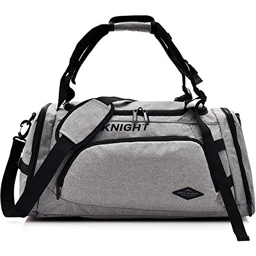 Price comparison product image 3-Way Fitness Sport 20-35L Gym Bag Travel Duffel Backpack with Shoes Compartment for Women Men Overnight Travel Tote Bag (Light Grey)