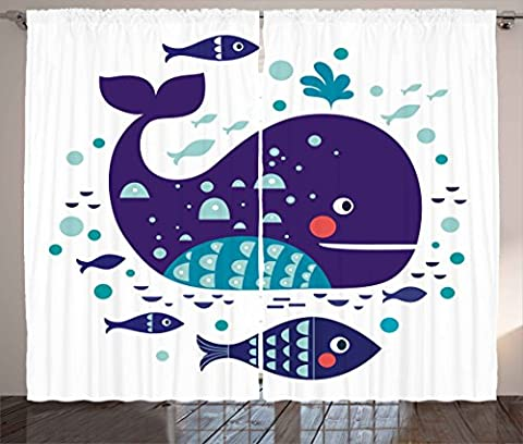 Whale Decor Curtains by Ambesonne, Navy Sea Theme Cartoon Big Fish with Others in Ocean Swimming Image, Living Room Bedroom Window Drapes 2 Panel Set, 108 W X 84 L Inches, Sky Blue and Navy (Blue Theme Room)