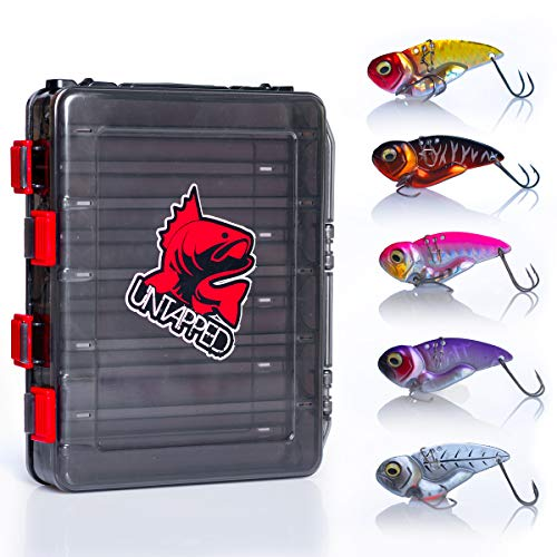 Kit Largemouth (Untapped fishing Premium Fishing Lures for Bass, 6pc Ultra Lure kit Comes with a Bonus Double Sided Tackle Box. Hard Metal Spinner Bait kit Alternative)