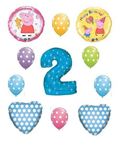 Peppa Pig Blue 2nd Happy Birthday Balloon Bouquet by Anagram