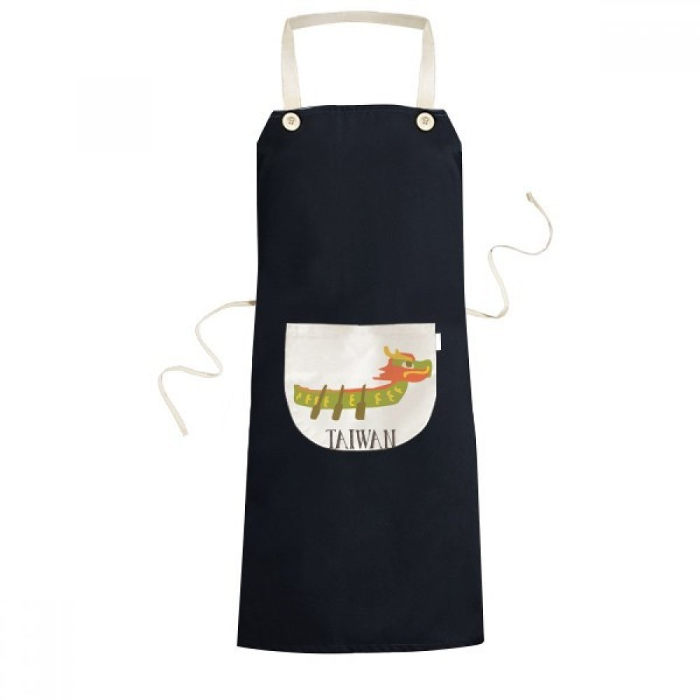 DIYthinker China Dragon Boat Race Travel Taiwan Cooking Kitchen Black Bib Aprons With Pocket for Women Men Chef Gifts